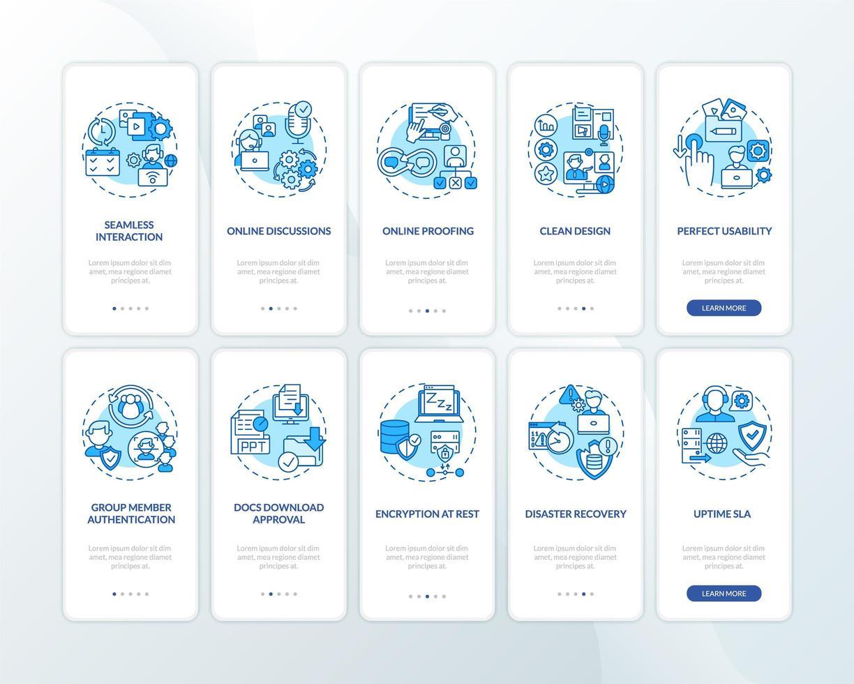 El software de trabajo remoto presenta la pantalla de la página de la aplicación móvil incorporada con el conjunto de conceptos vector
