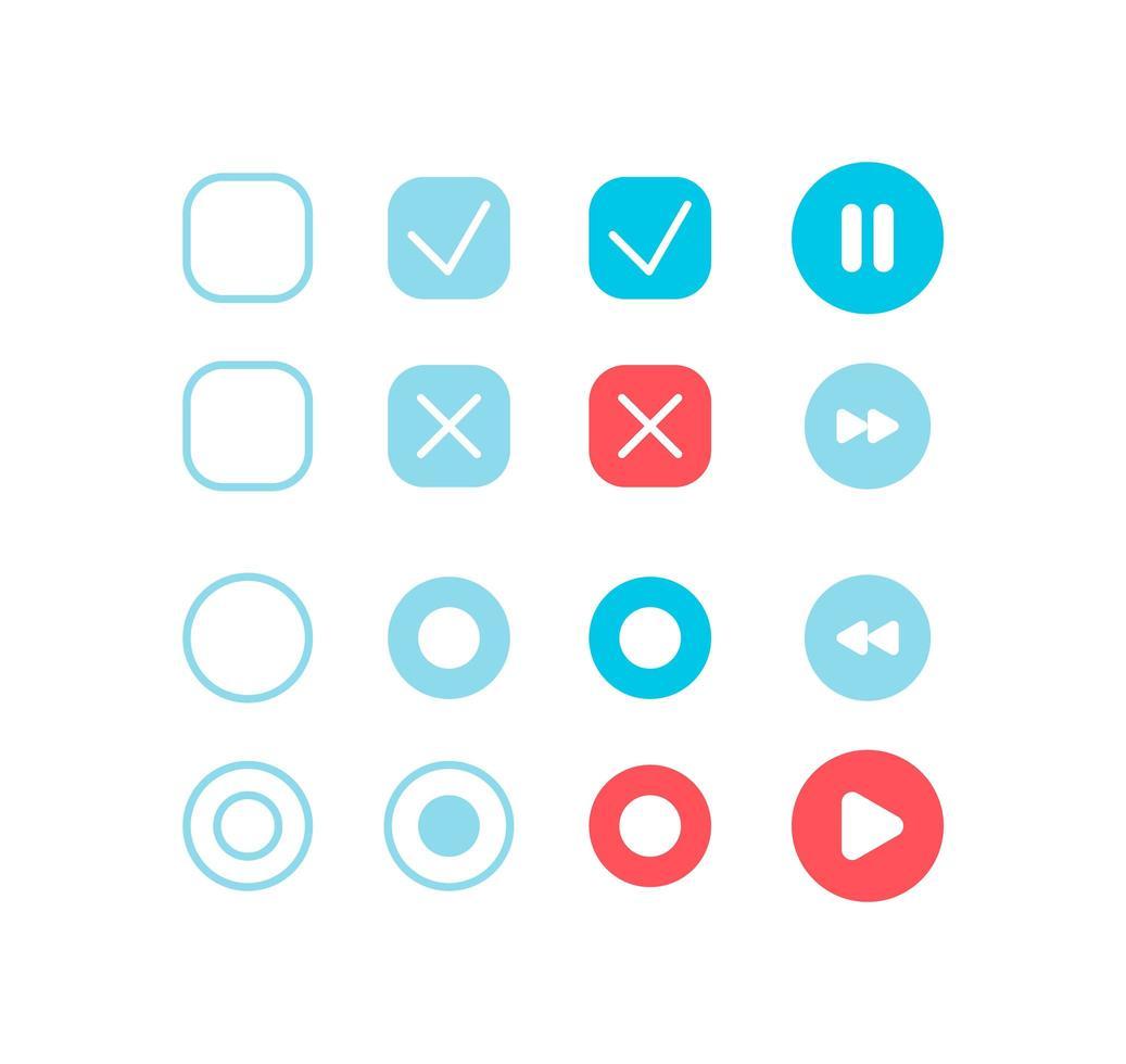 kit de elementos de interfaz de usuario de configuración de reproductor de audio vector