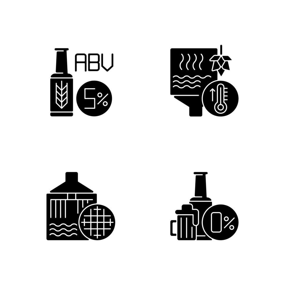 iconos de glifo negro de cervecería en espacio en blanco vector