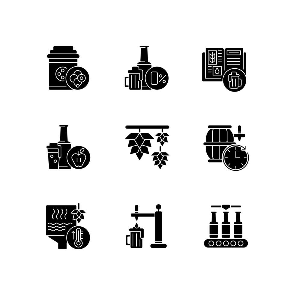 elaboración de la cerveza, proceso, negro, glifo, iconos, conjunto, blanco, espacio vector