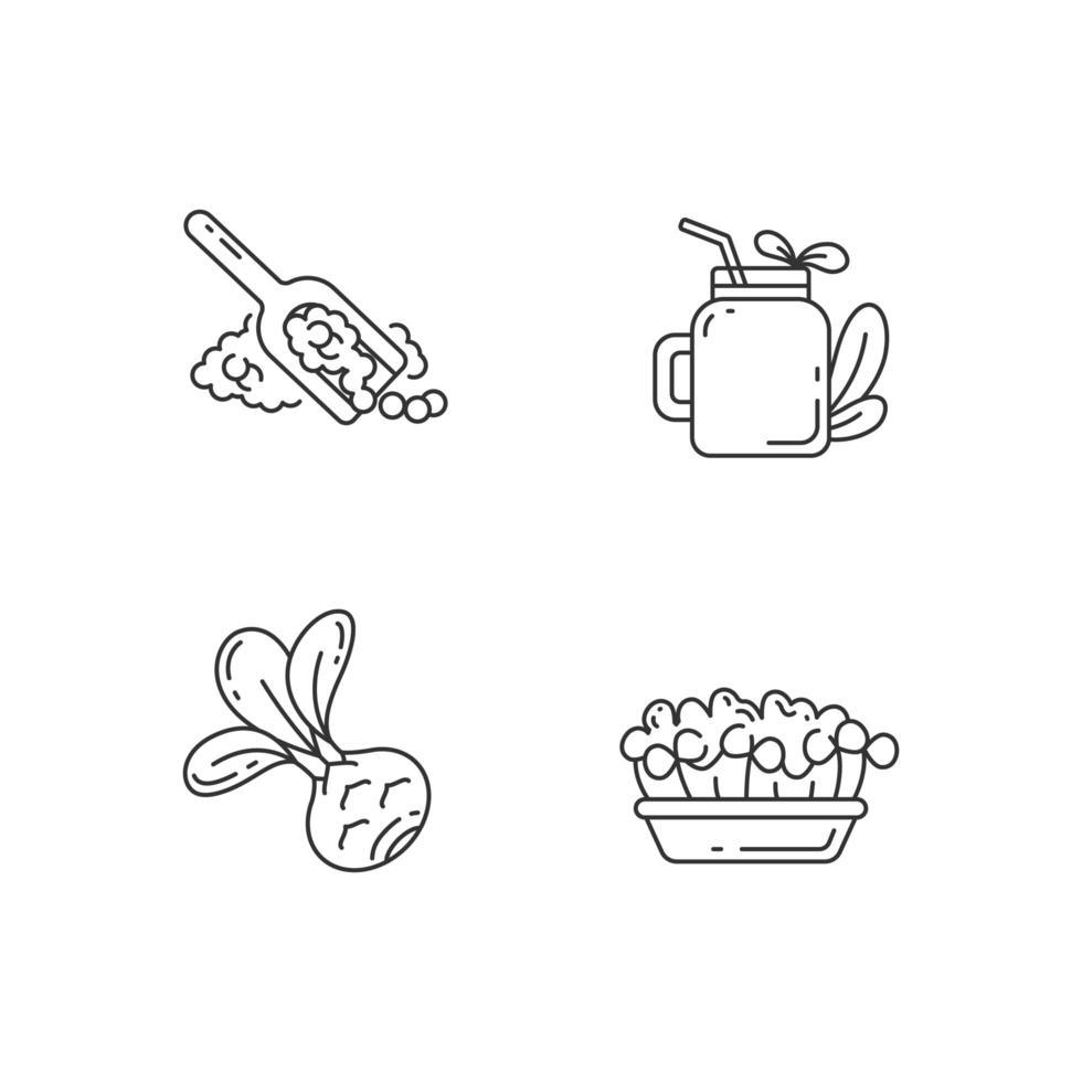 Conjunto de iconos lineales perfectos de píxeles de variedad de verdes vector