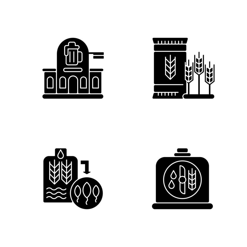 Fabricación de cerveza iconos de glifos negros en espacio en blanco vector