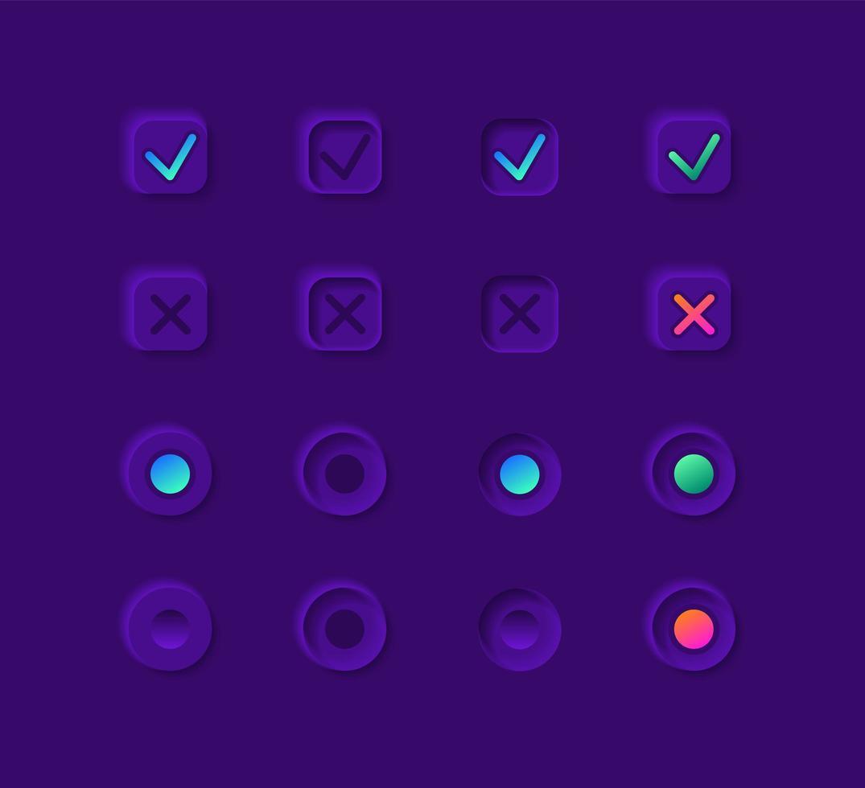 kit de elementos de interfaz de usuario de botones de notificación vector