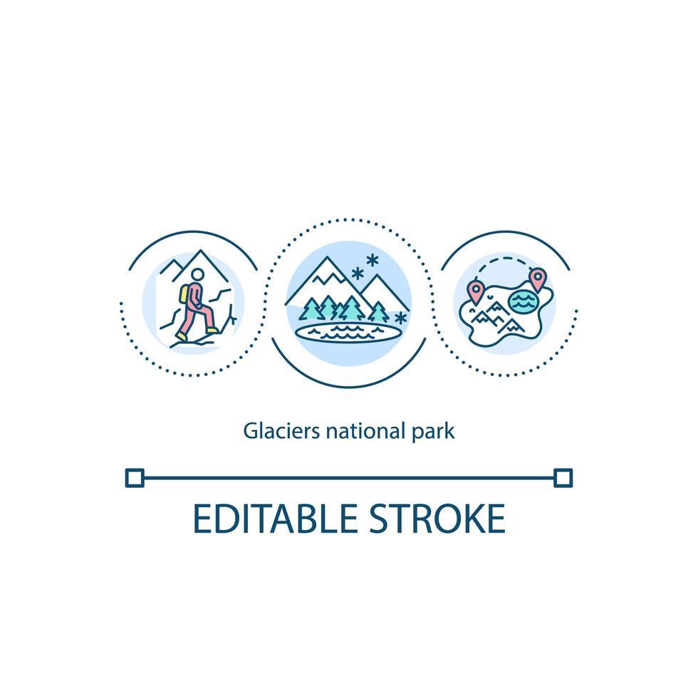 icono del concepto del parque nacional de los glaciares vector