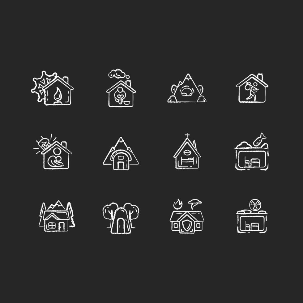 Tipos de refugios iconos de tiza blanca sobre fondo negro vector
