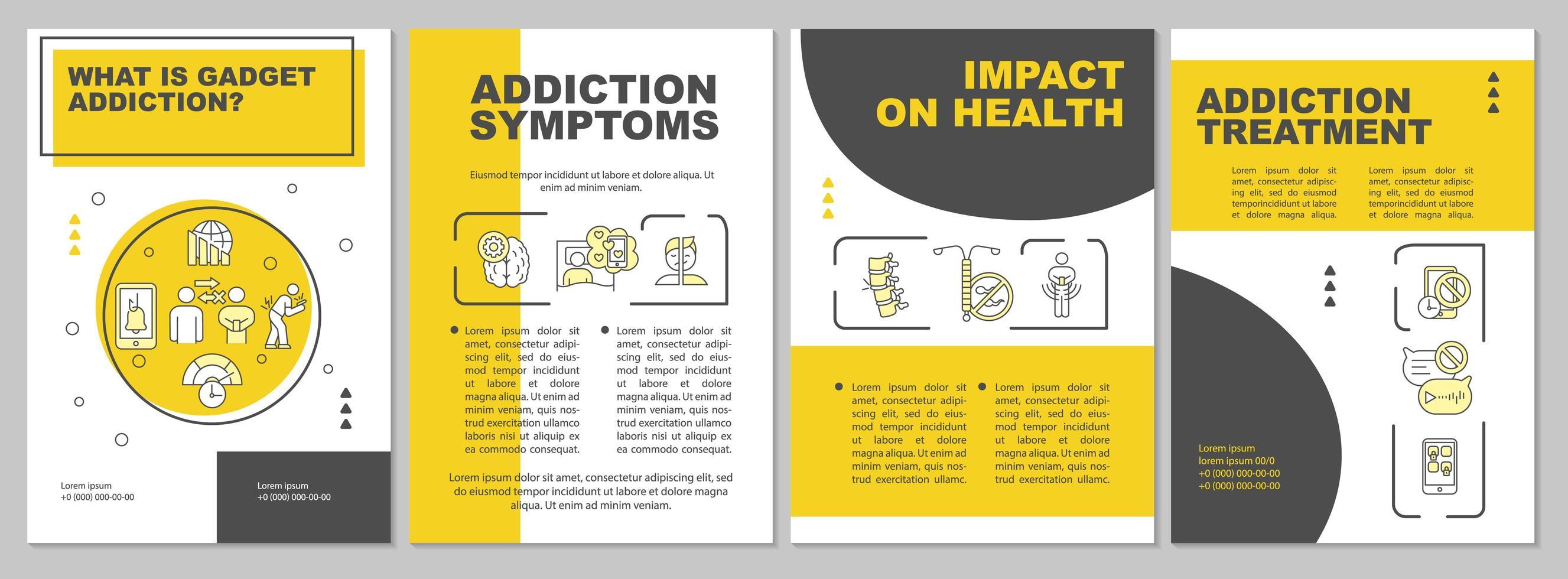 Plantilla de folleto de síntomas de adicción a gadgets vector