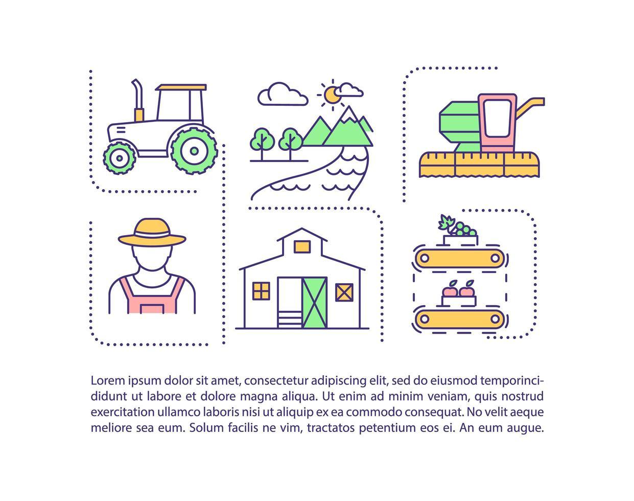 icono de concepto de industria agrícola con texto vector