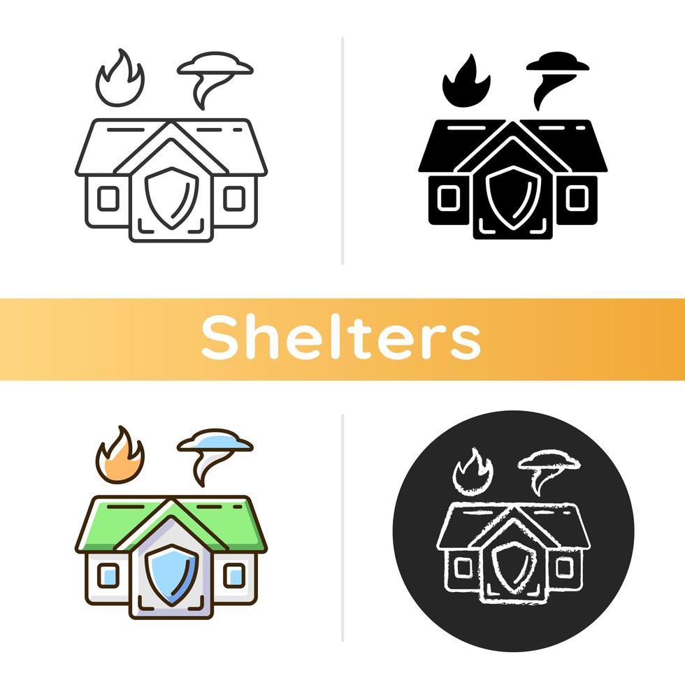 icono de refugio de emergencia vector