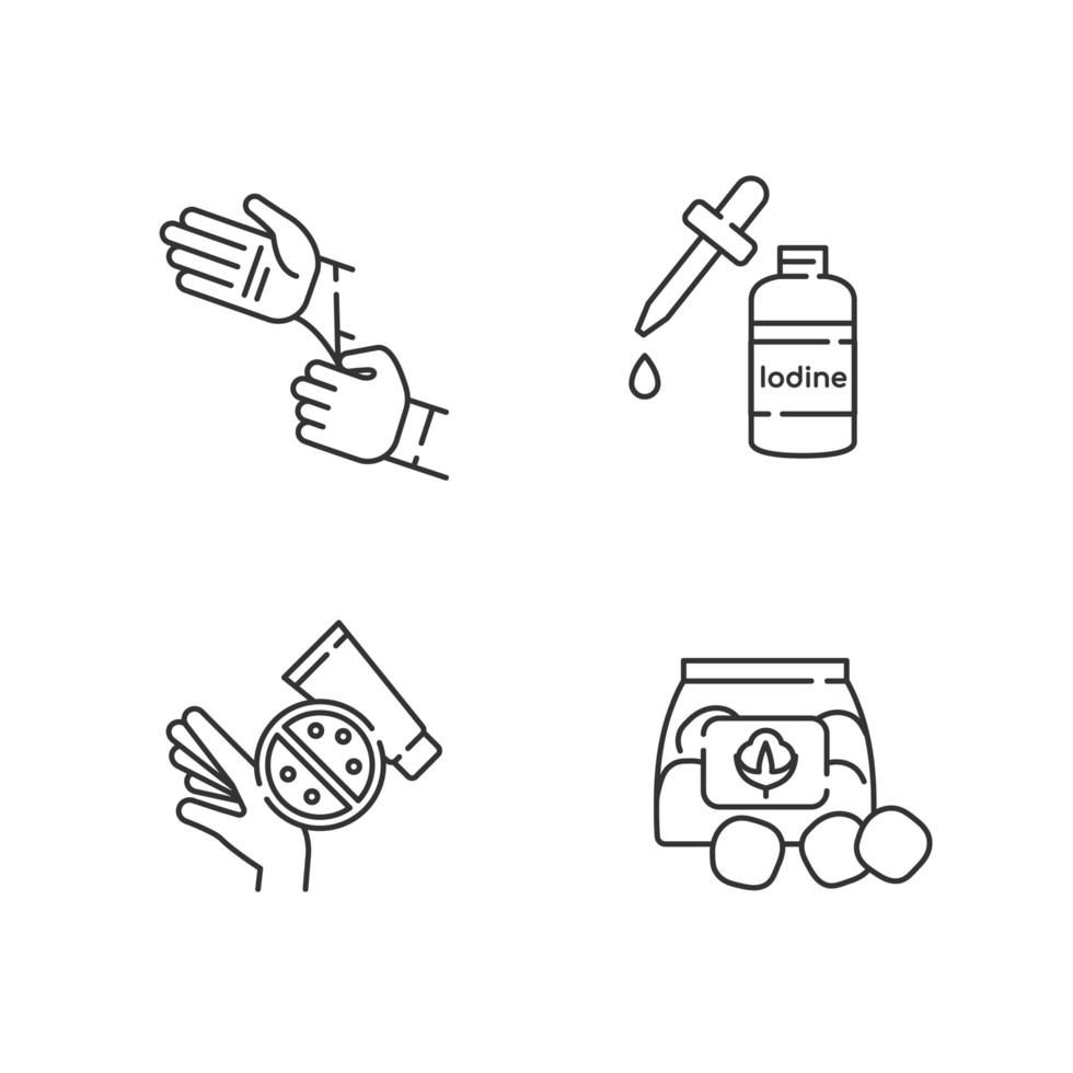 conjunto de iconos lineales de equipos médicos vector