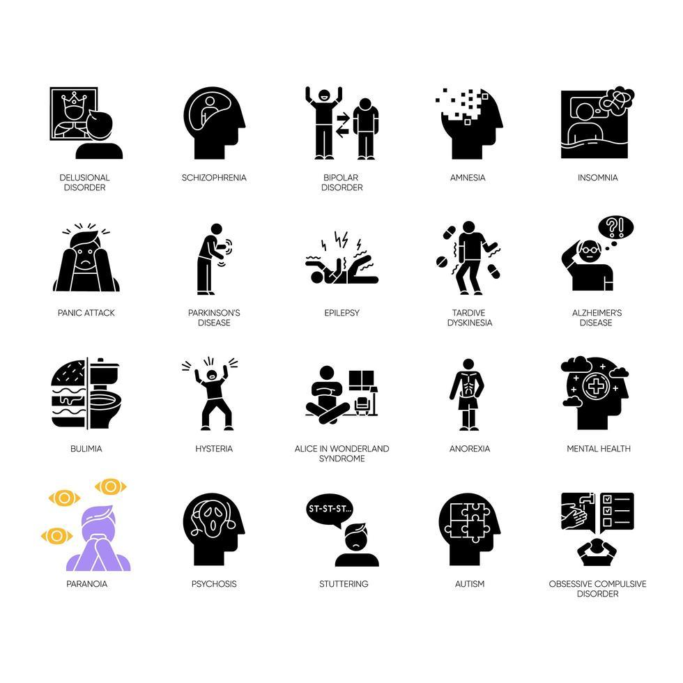 conjunto de iconos de glifo de trastorno mental. delirios, esquizofrenia. amnesia, insomnio. bulimia, anorexia. Espectro autista. síndrome obsesivo compulsivo. símbolos de silueta. vector ilustración aislada