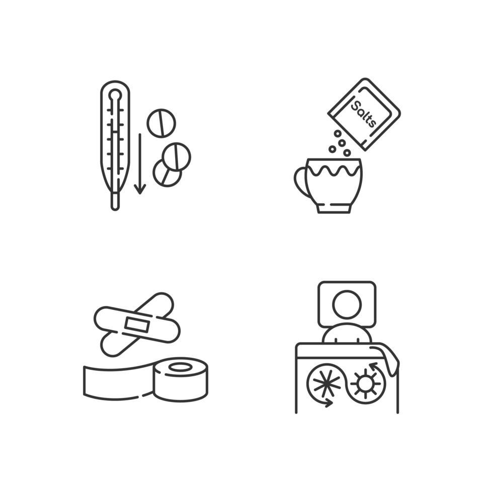 Conjunto de iconos lineales de medicamentos de primeros auxilios vector