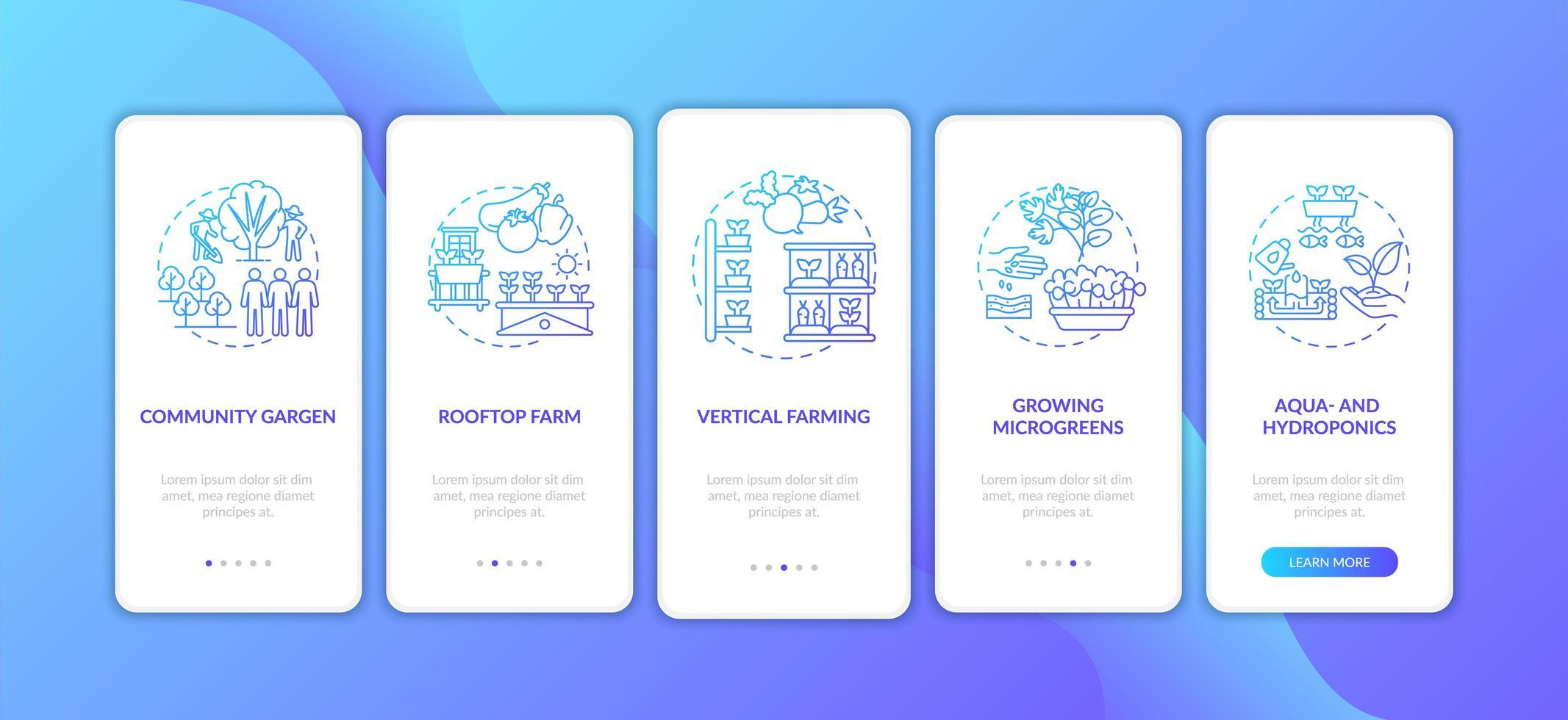 Pantalla de la página de la aplicación móvil de incorporación de agricultura urbana con conceptos vector