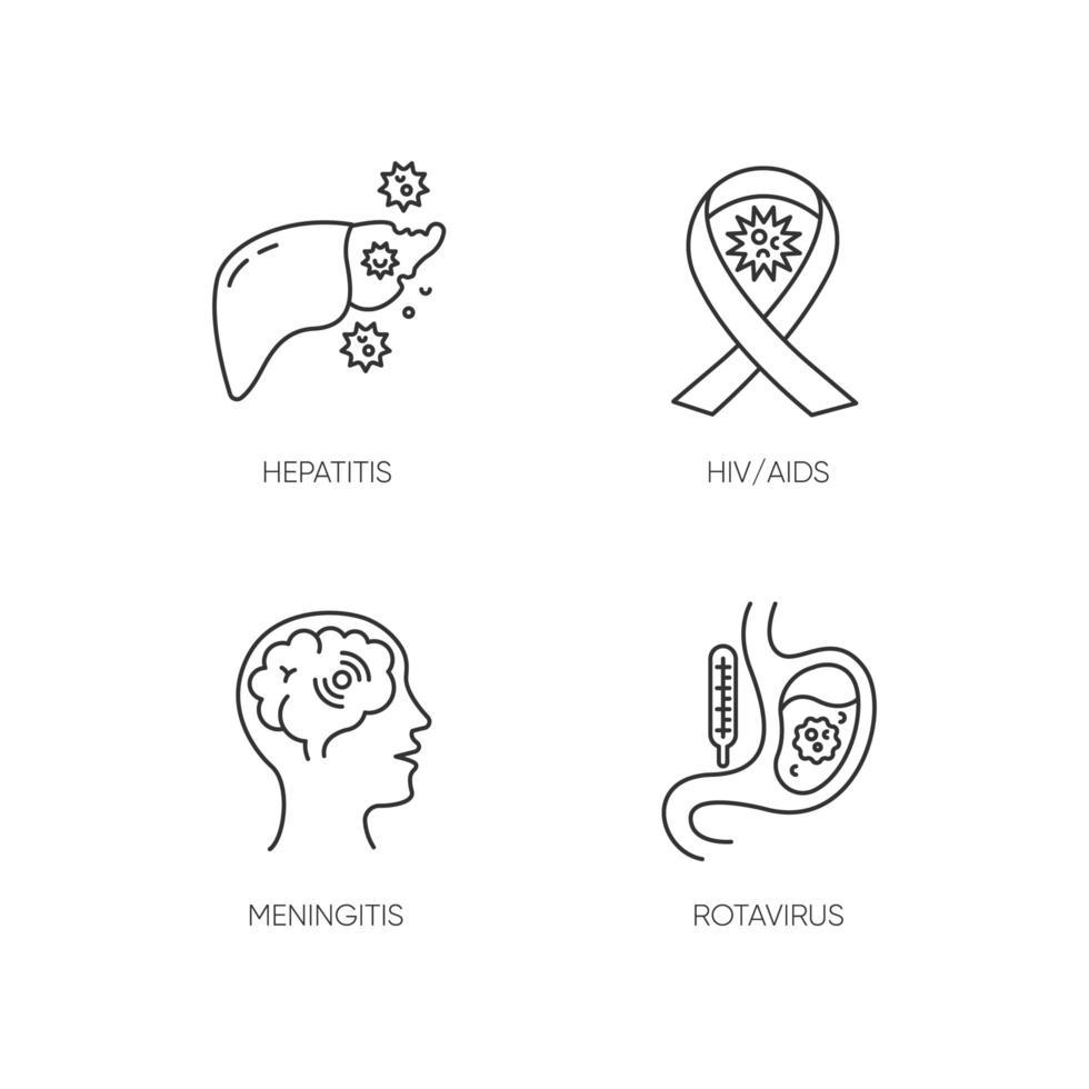 Enfermedades peligrosas Pixel perfectos iconos lineales establecidos. Símbolos de contorno de línea fina personalizables para el vih, sida, meningitis, rotavirus y hepatitis. ilustraciones de contorno de vector aislado. trazo editable