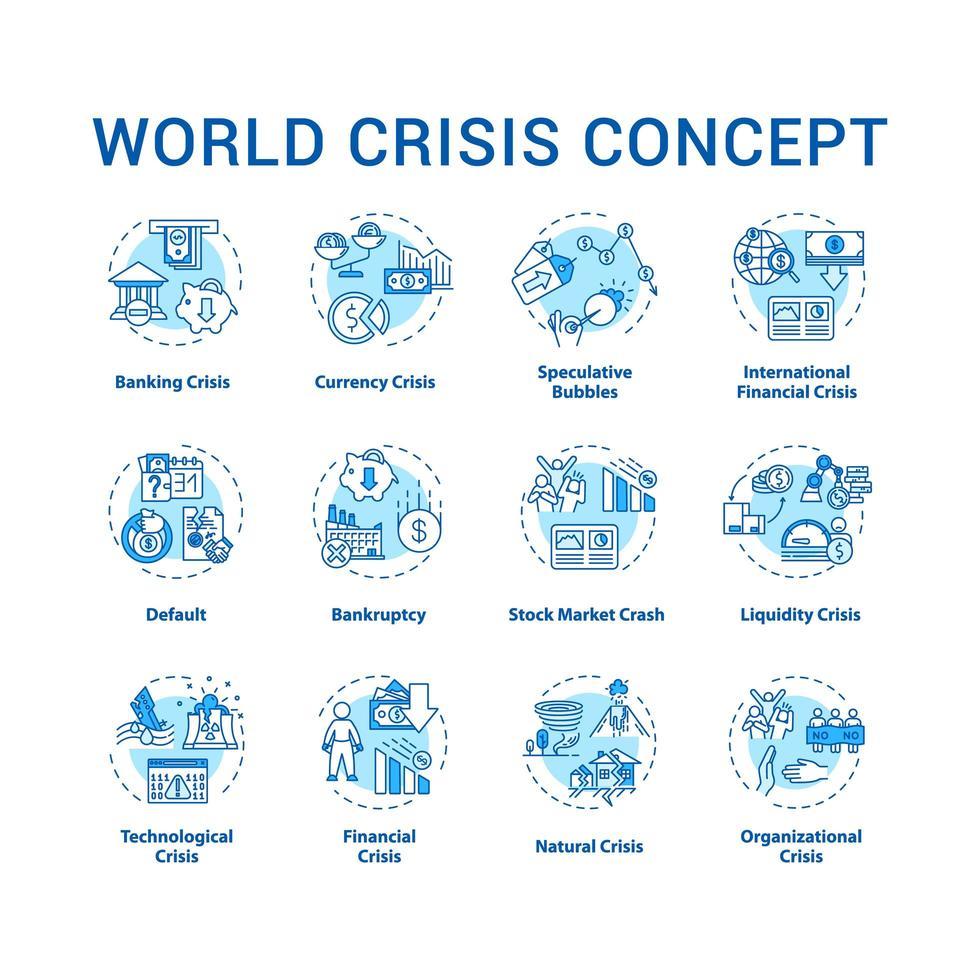 Conjunto de iconos de concepto de crisis mundial. situación de desastre internacional, evento de emergencia con cambios globales negativos idea ilustraciones en color rgb de línea delgada. dibujos de contorno aislados vectoriales. trazo editable vector