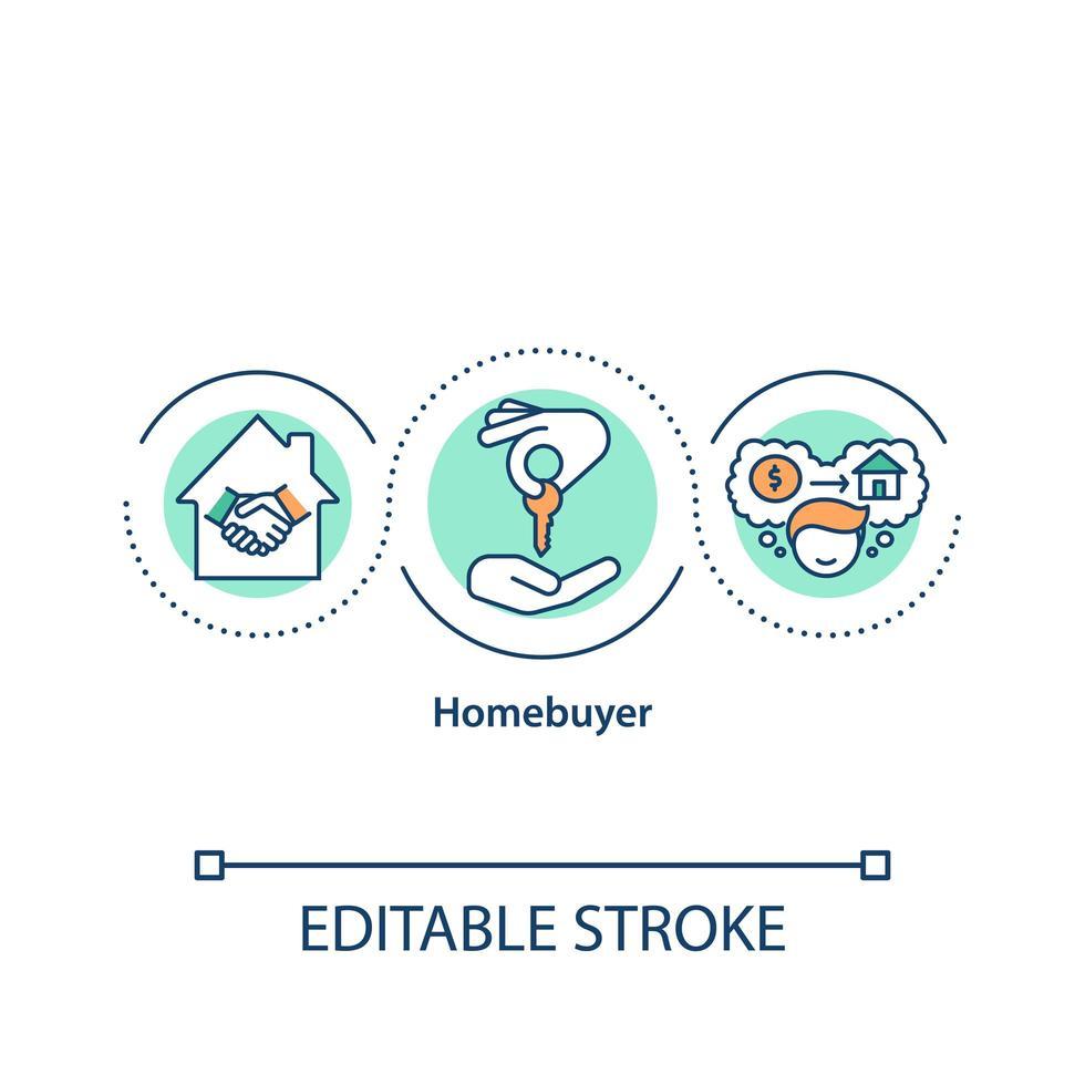 icono del concepto de comprador de vivienda vector