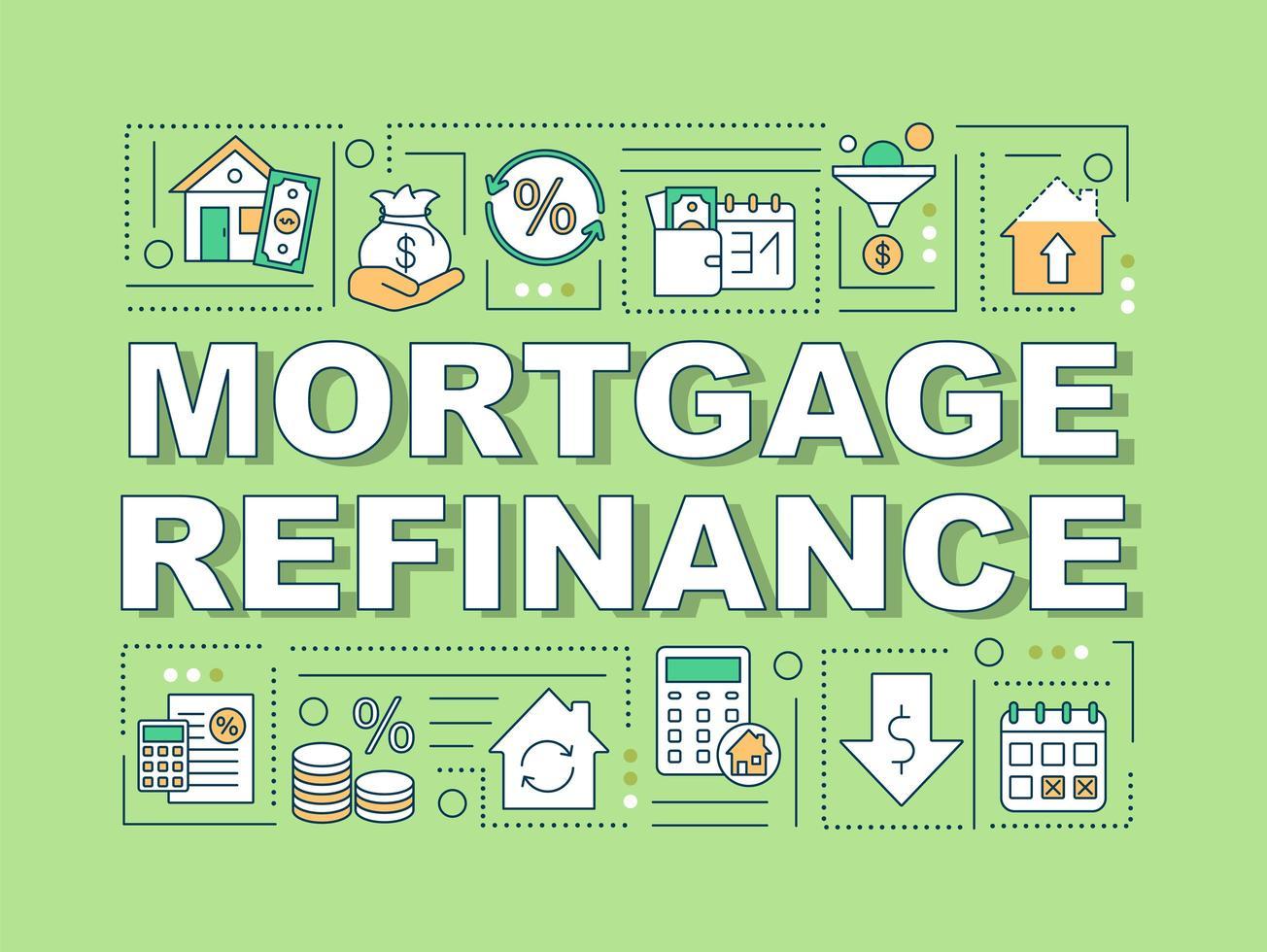 banner de conceptos de palabra de refinanciamiento de hipotecas vector