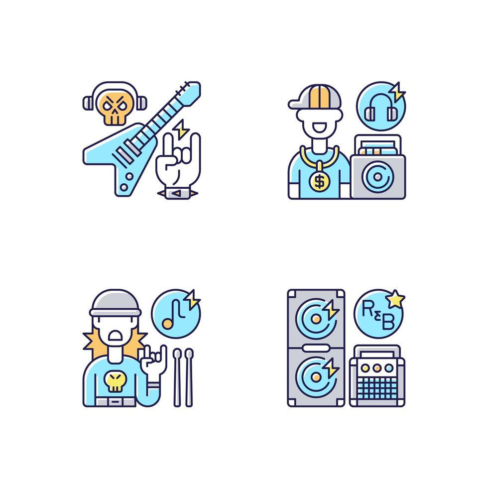 Conjunto de iconos de colores rgb de música callejera moderna vector