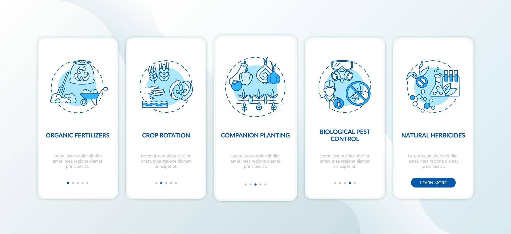 Principios de agricultura orgánica incorporación de la pantalla de la página de la aplicación móvil con conceptos vector