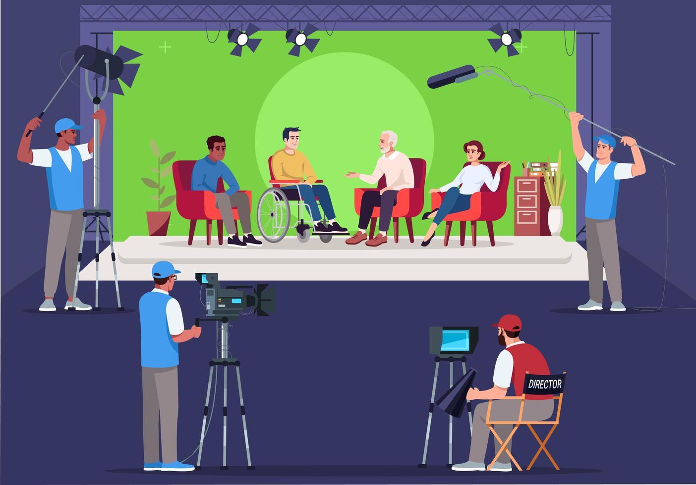 entrevista conjunto ilustración vectorial semi plana vector
