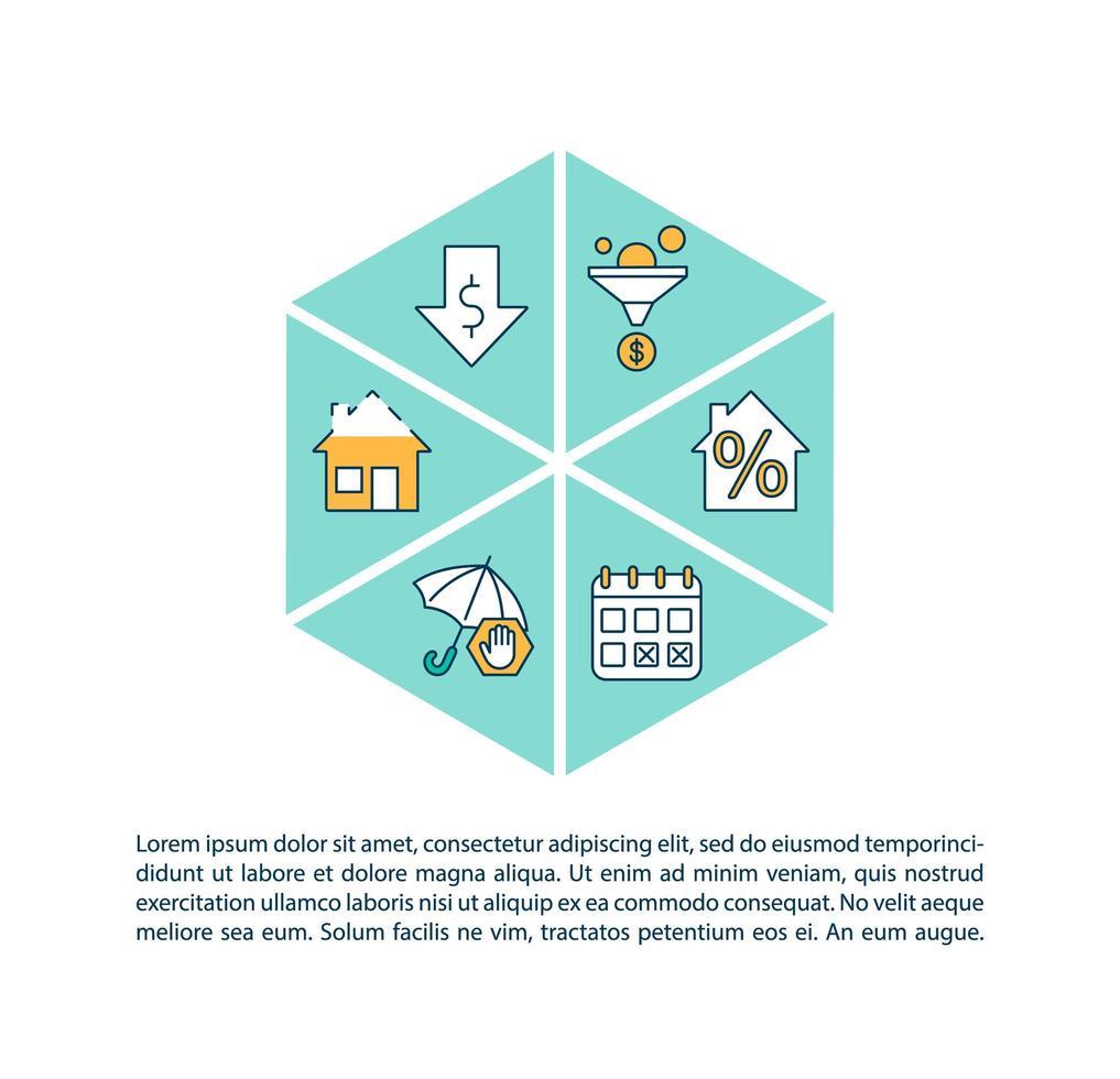 Icono de concepto de refinanciación de préstamos hipotecarios con texto vector
