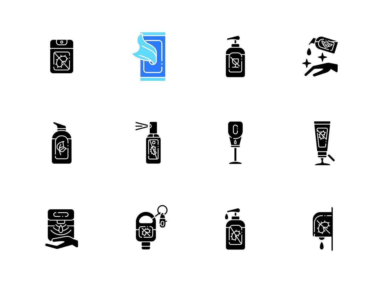 tipos de desinfectantes iconos de glifos negros en espacio en blanco vector