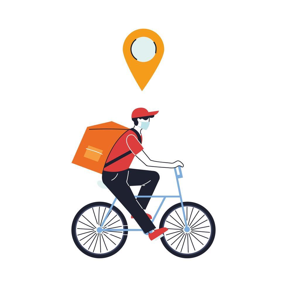 Mensajero con máscara haciendo una entrega en bicicleta vector