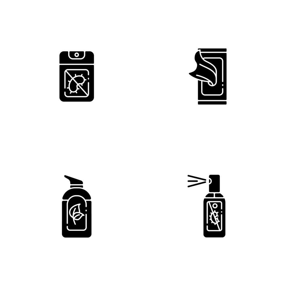 Desinfectantes de manos antibacterianos iconos de glifos negros en espacio en blanco vector