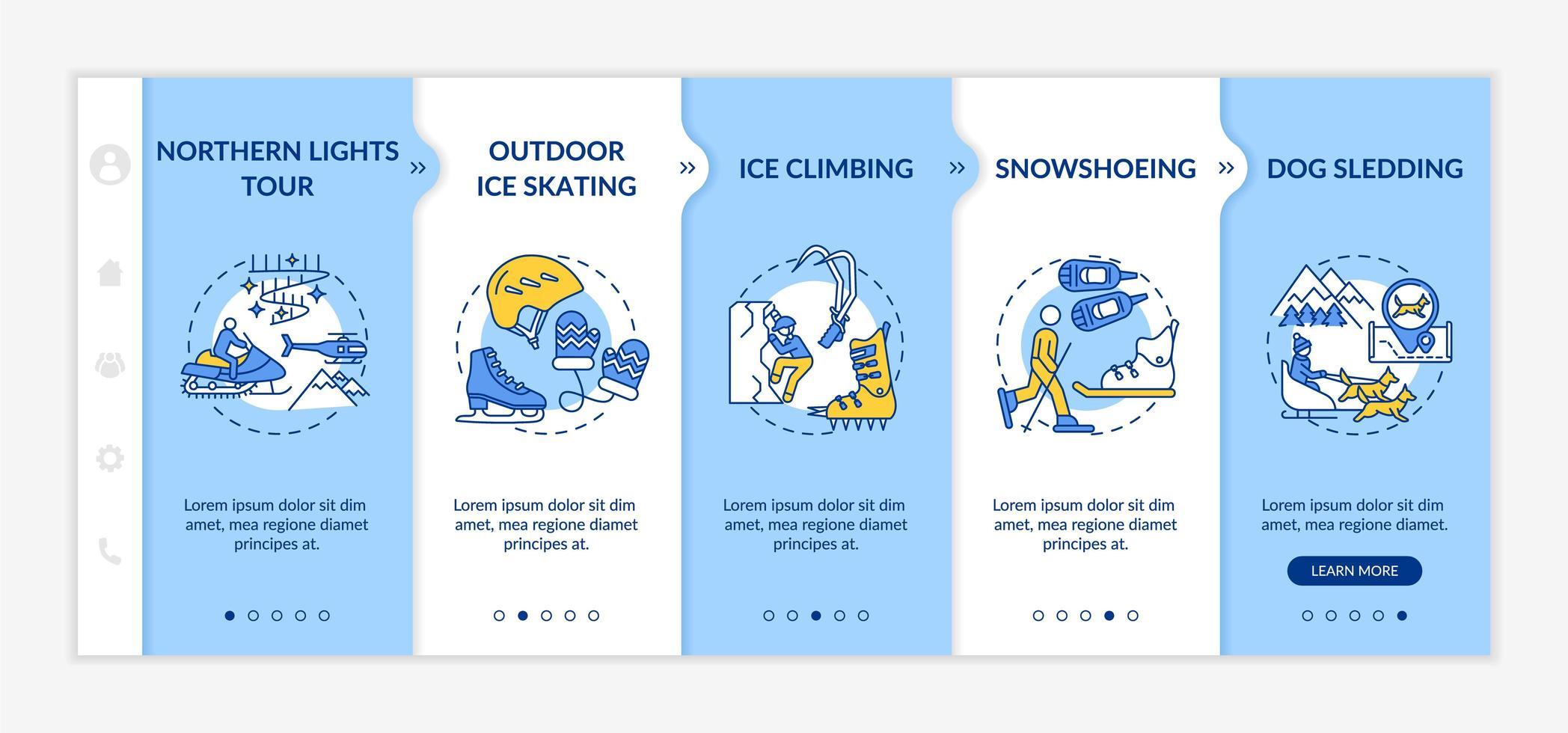 plantilla de vector de incorporación de actividades recreativas de invierno