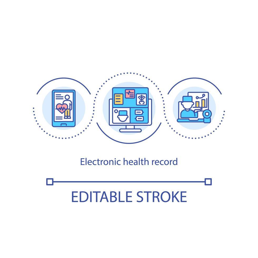 icono de concepto de registro de salud electrónico vector