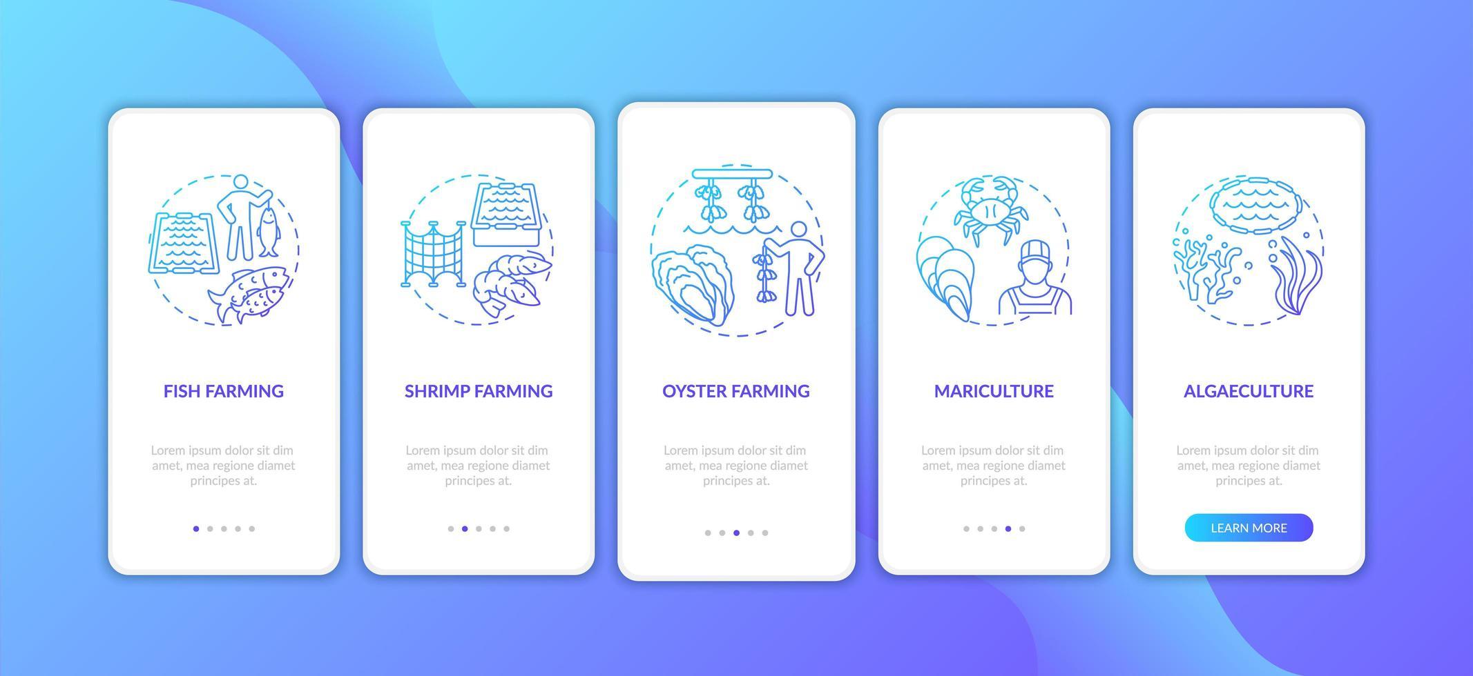 Pantalla de la página de la aplicación móvil de incorporación de acuicultura con conceptos vector
