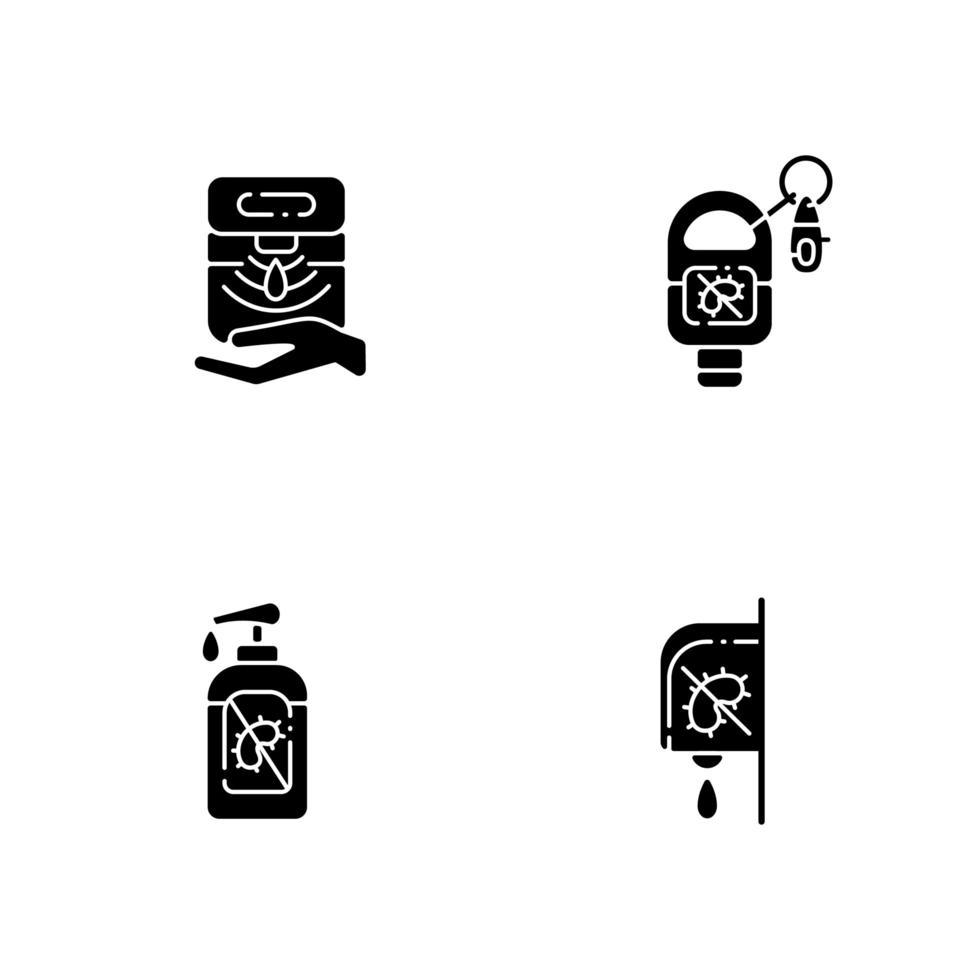Desinfectantes de manos higiénicos iconos de glifos negros en espacio en blanco vector