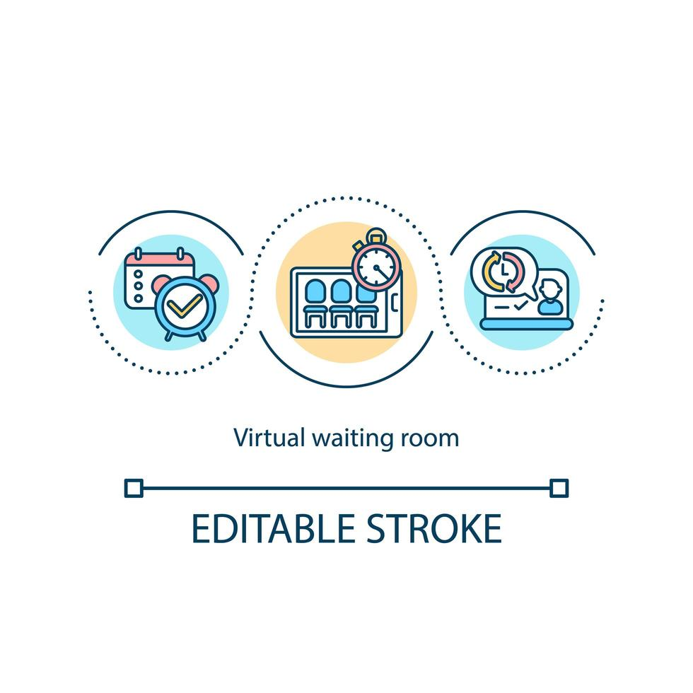 Virtual waiting room concept icon vector
