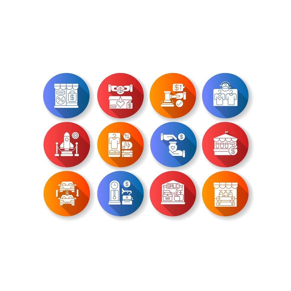 tienda outlet diseño plano larga sombra glifo conjunto de iconos vector
