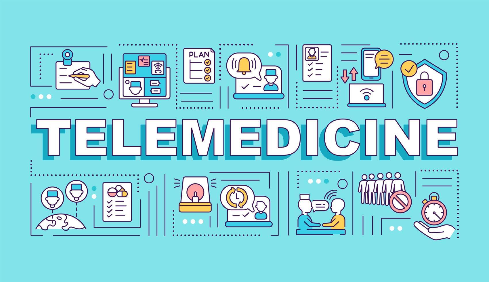 banner de conceptos de palabra de telemedicina vector