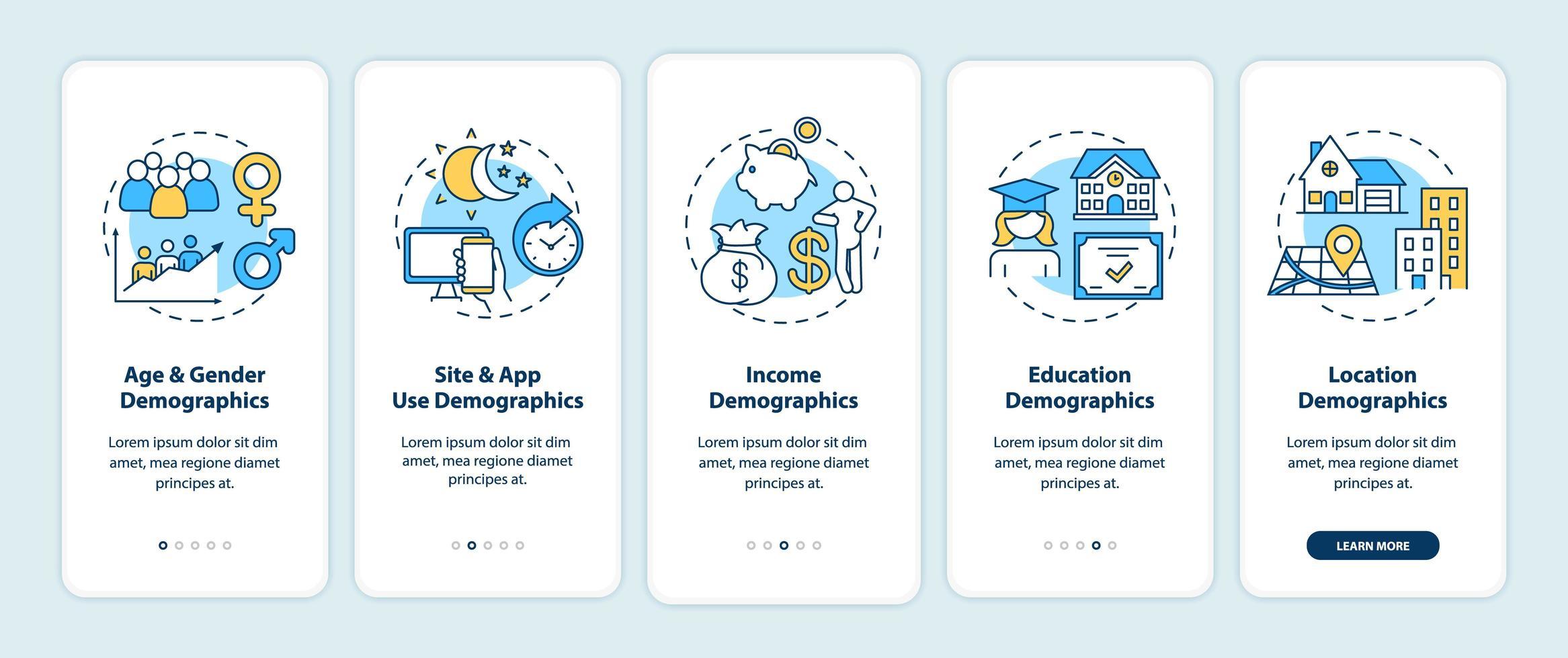 Pantalla de página de la aplicación móvil de incorporación de datos demográficos en redes sociales con conceptos vector