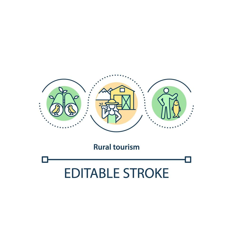 icono del concepto de turismo rural vector