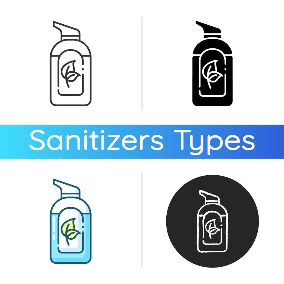 icono de desinfectante de manos orgánico vector