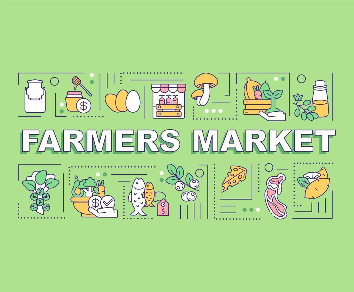 banner de conceptos de palabra de mercado de agricultores vector