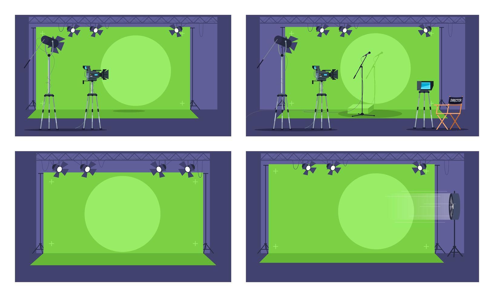 conjunto de ilustración de vector semi plano de pantalla verde