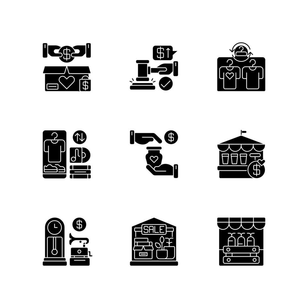 Venta de iconos de glifo negro en espacio en blanco vector