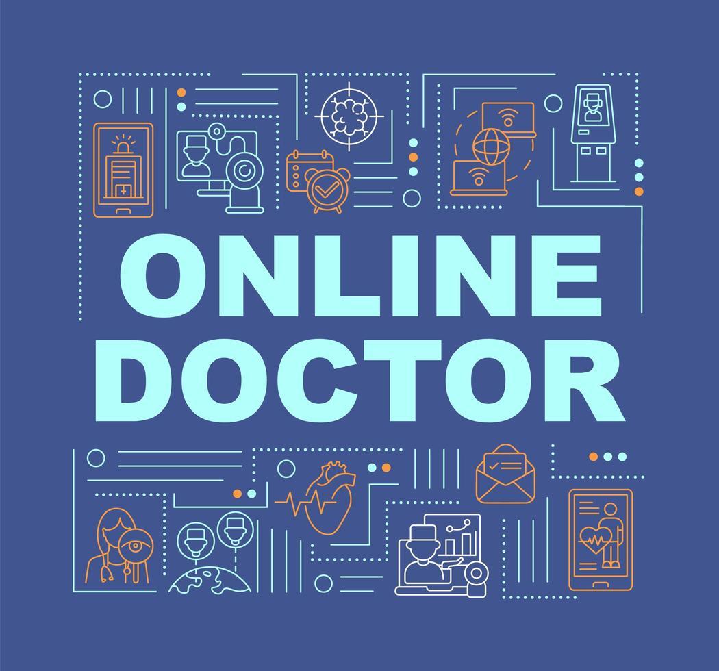 banner de conceptos de palabra de doctor en línea vector