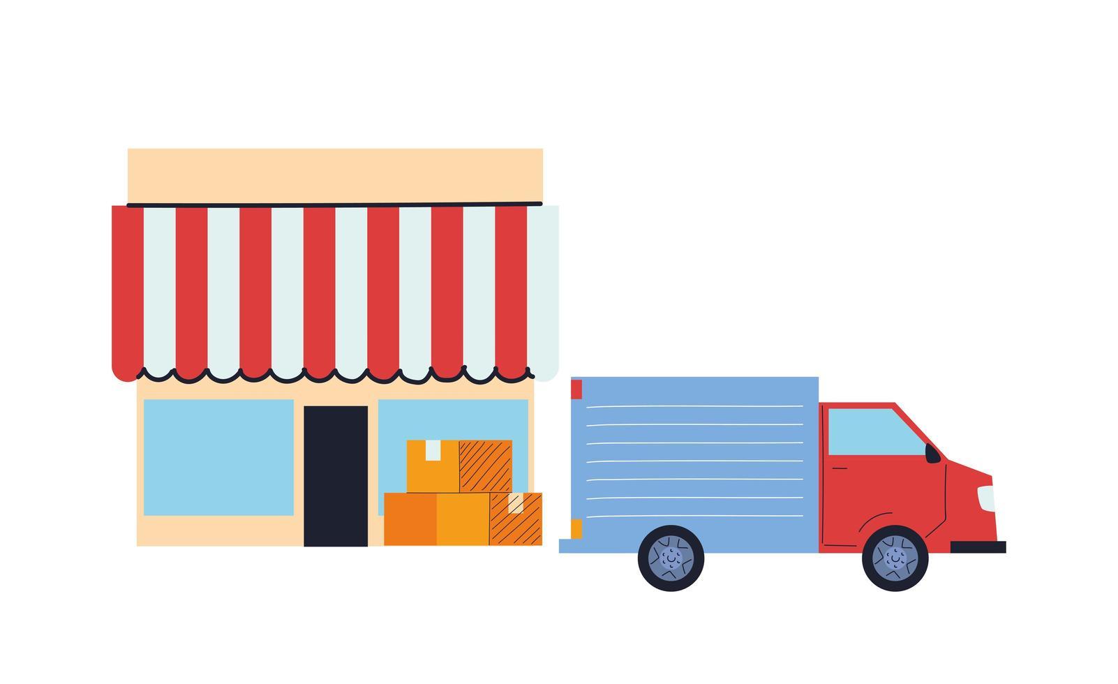 camión de carga que realiza entregas a la tienda vector