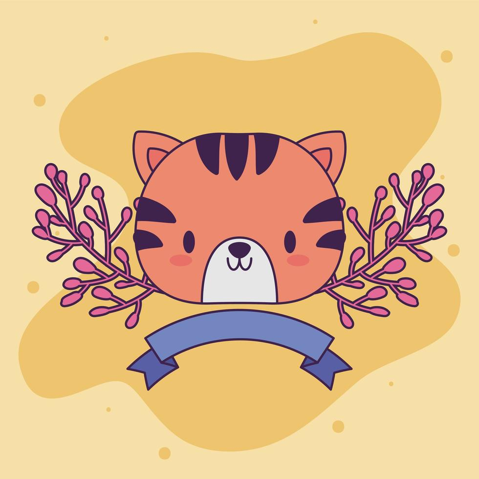 lindo bebé tigre kawaii con plantas vector