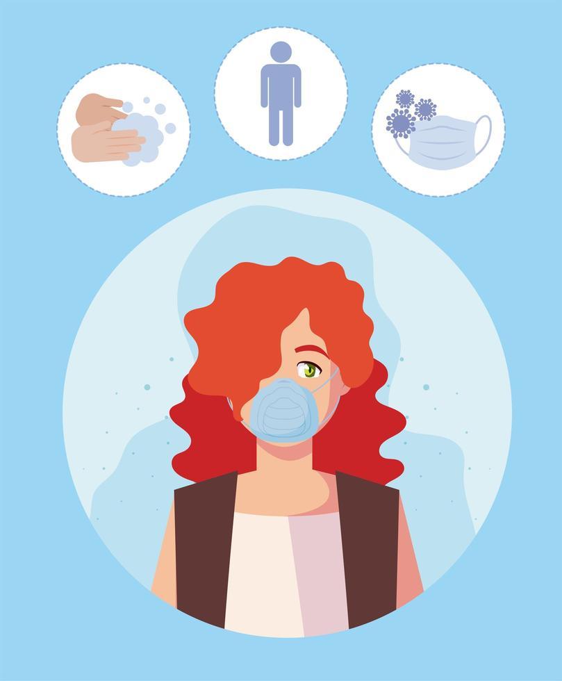 Mujer con máscara médica y diseño vectorial de conjunto de iconos covid19 vector
