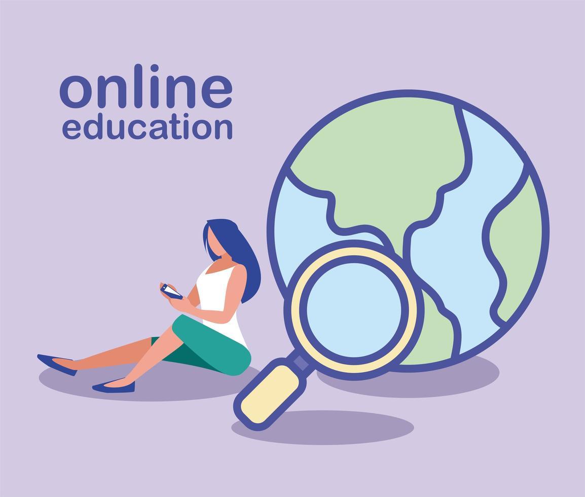 mujer con smartphone e icono de búsqueda, educación en línea vector