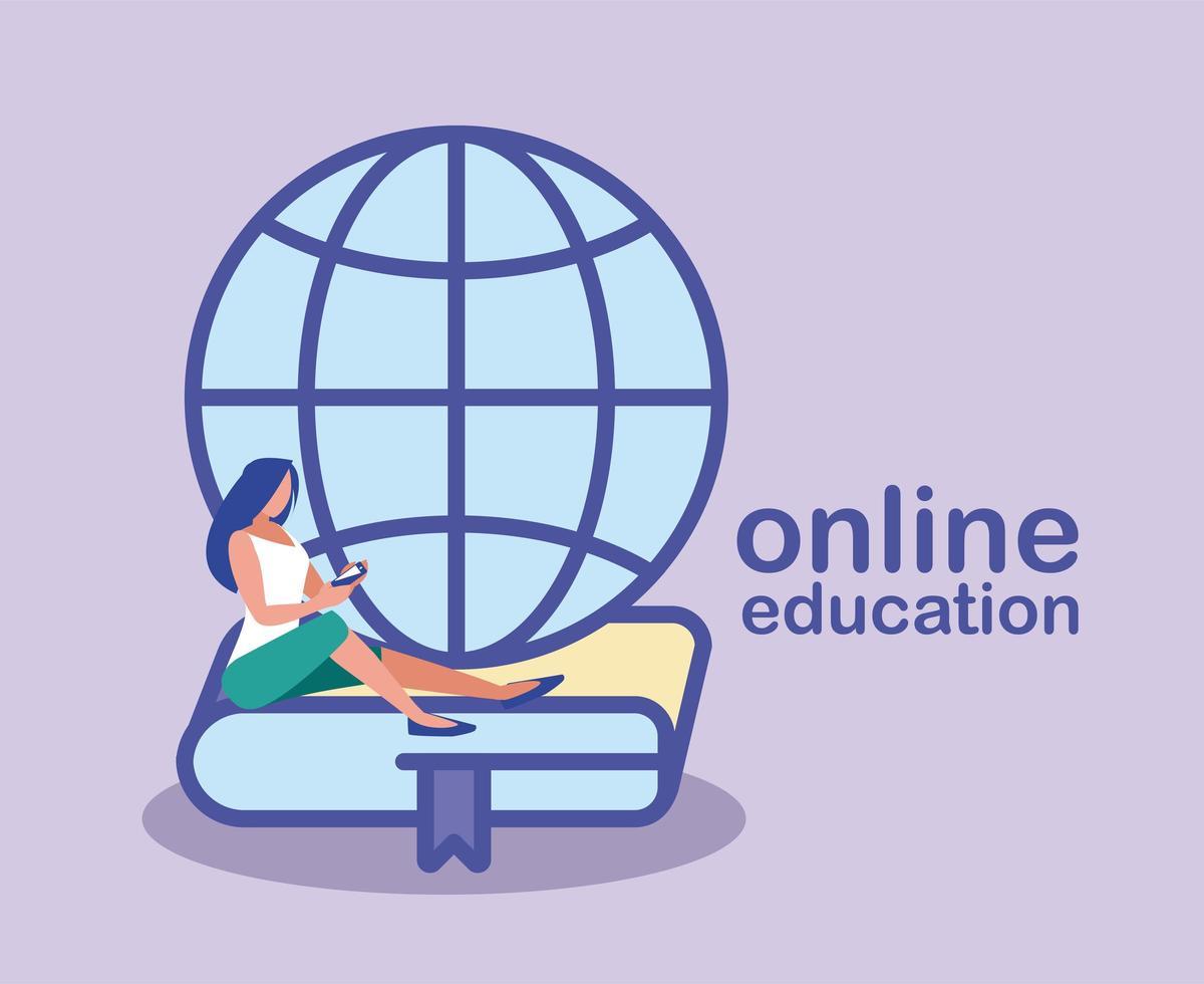 mujer en busca de información en la web, educación en línea vector
