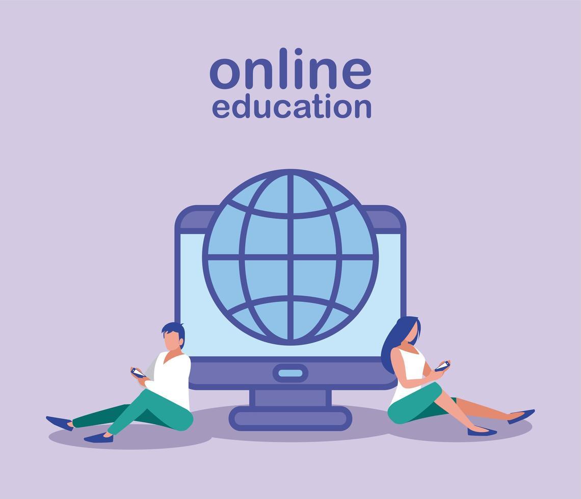 personas con teléfonos inteligentes y navegador de internet, educación en línea vector