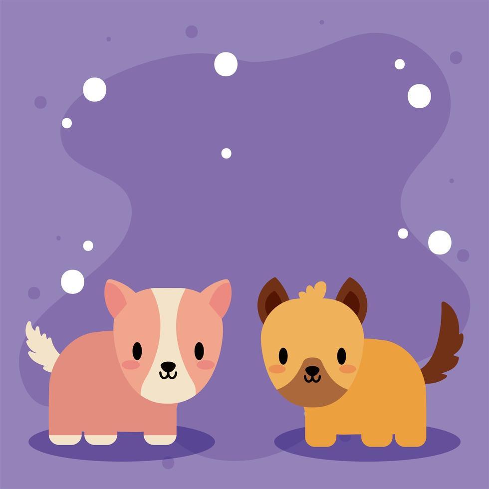 linda tarjeta con conejillo de indias kawaii y perro vector