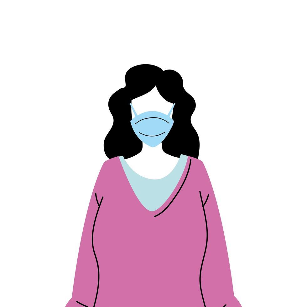 mujer joven con mascarilla para prevenir el virus vector