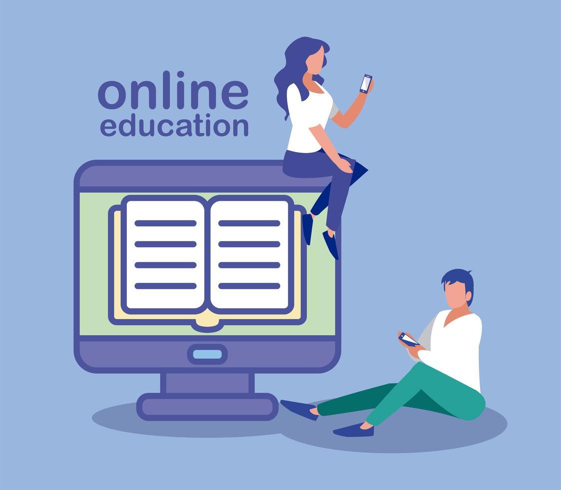 personas que usan computadora de escritorio, educación en línea vector